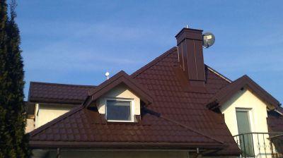 Domek jednorodzinny Kompleksowy remont dachu oraz Pokrycie dachu blachodachówką wraz z podbitką 2011 warszawa Wilanów ul. Ruczaj
