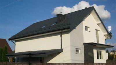 Domek jednorodzinny kompleksowe pokrycie blachodachówką warszawa Wawer ul. poprawna 2011