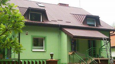 Kompleksowe pokrycie domku jednorodzinnego blachodachówką 2007 Warszawa ul. Paproci